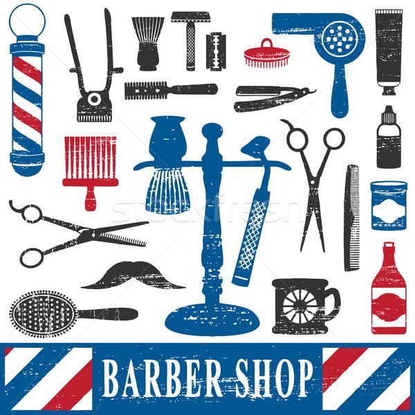 Vintage barbero tienda herramientas silueta Foto stock © sanjanovakovic