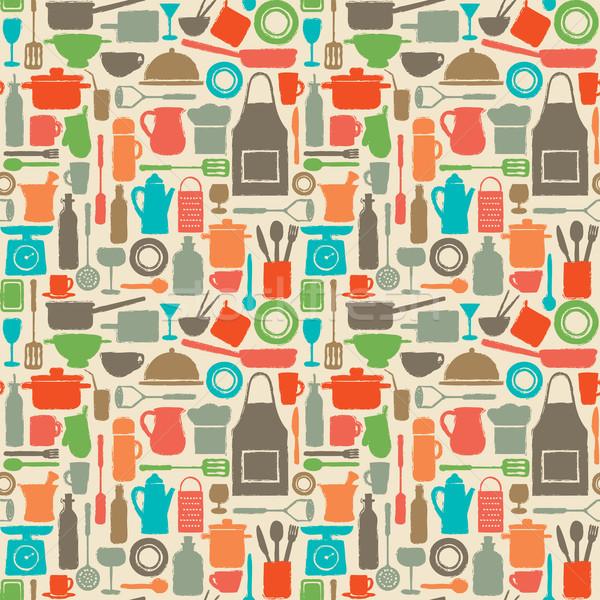 ストックフォト: キッチン · シルエット · アイコン · 食品 · デザイン
