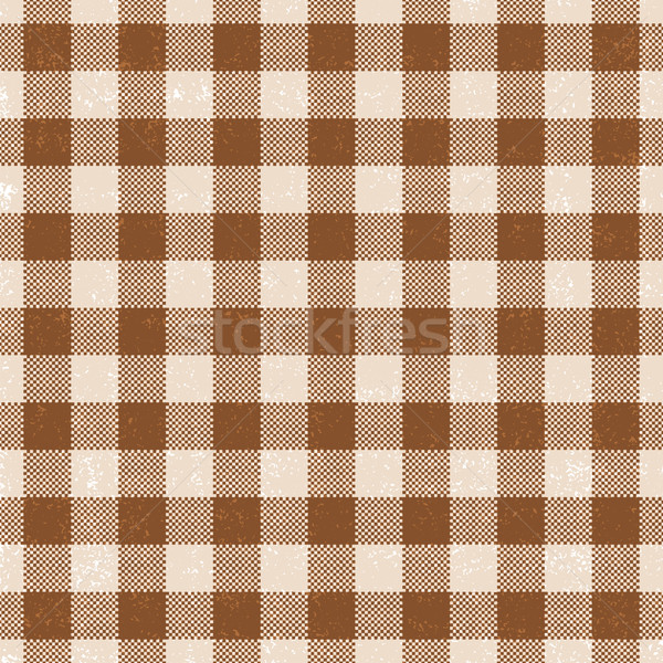 Brown scratched gingham vector pattern background Stock photo © sanjanovakovic