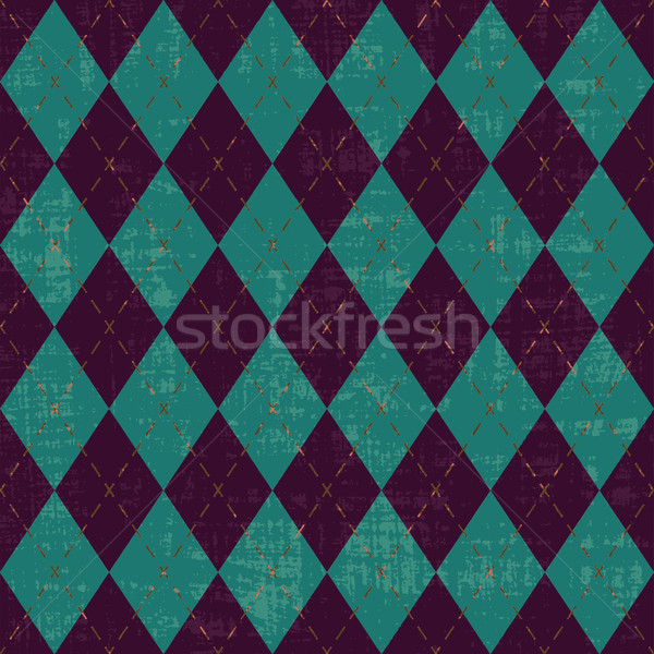 Scratched purple and green argyle pattern inspired vector background
