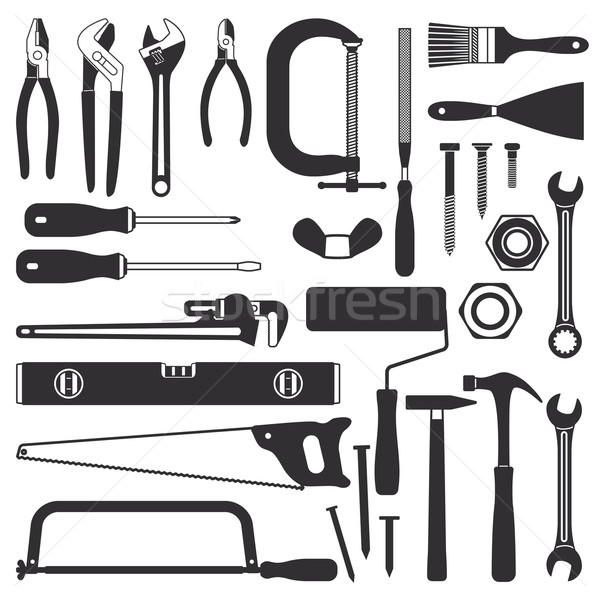 Various hand tools vector silhouette icon set 1 Stock photo © sanjanovakovic