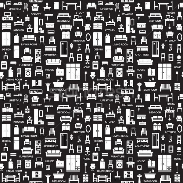 Vektör ev mobilya simgeler mutfak Stok fotoğraf © sanjanovakovic