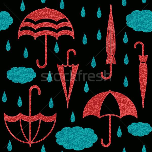 Ombrelli nubi gocce di pioggia nero vettore Foto d'archivio © sanjanovakovic