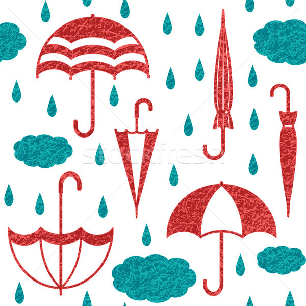 Umbrellas with clouds and raindrops vector seamless pattern background 3 Stock photo © sanjanovakovic