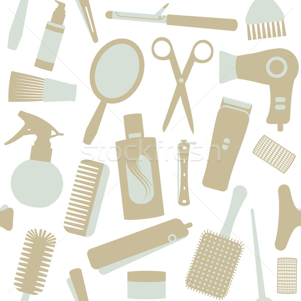Seamless pattern with hair styling related objects 1 Stock photo © sanjanovakovic