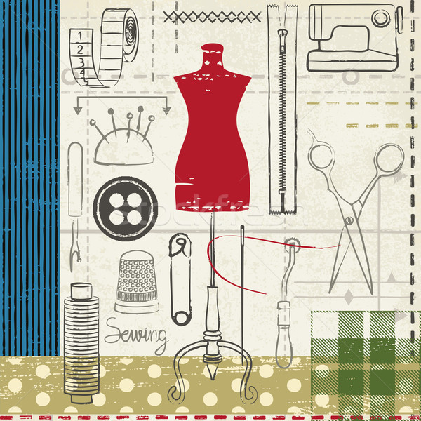 Stock photo: Grunge hand drawn sewing related poster