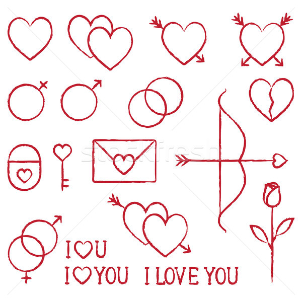 Romantic love vector hand drawn outline icons set 1 Stock photo © sanjanovakovic