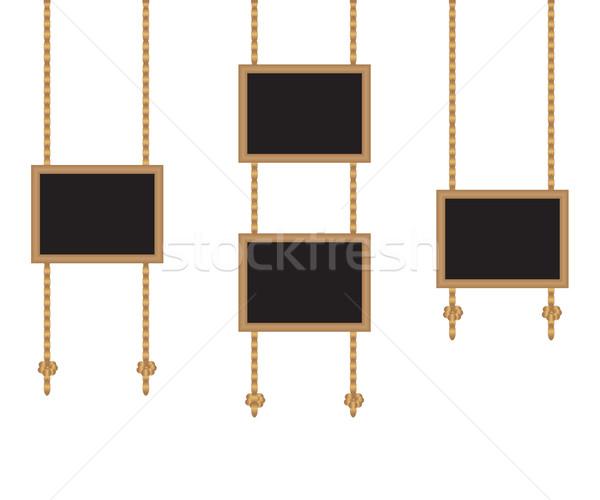 Framed boards on ropes Stock photo © sanjanovakovic