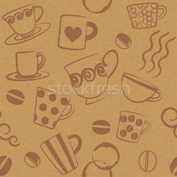 Coffee related seamless pattern on paper textured background 1   Stock photo © sanjanovakovic