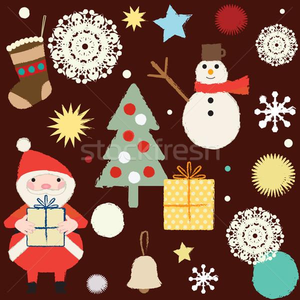 Christmas and winter themed retro seamless pattern 3   Stock photo © sanjanovakovic