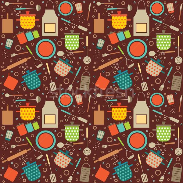 Colorful retro seamless pattern with cooking related symbols Stock photo © sanjanovakovic