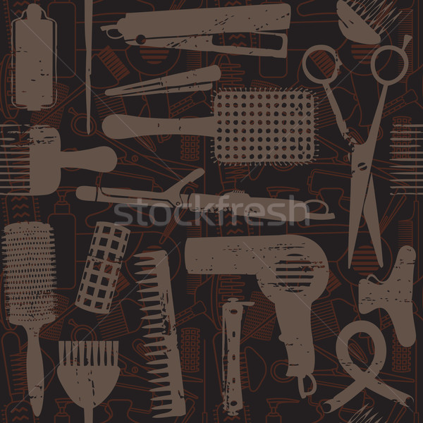 Brown scratched hair styling related seamless pattern  Stock photo © sanjanovakovic