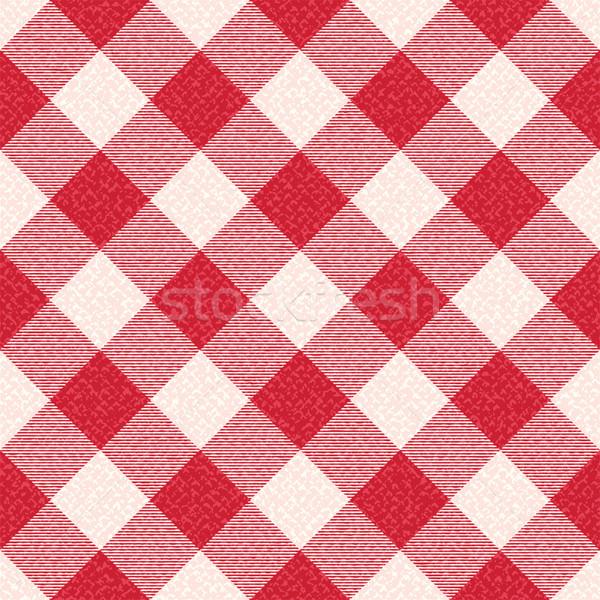 Red and white textured diagonal gingham pattern background 2 Stock photo © sanjanovakovic