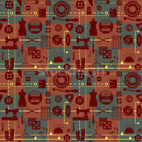 Vintage tiled seamless background with sewing and tailoring symbols Stock photo © sanjanovakovic