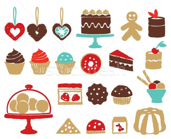 Сток-фото: различный · красочный · конфеты · иконки · торты