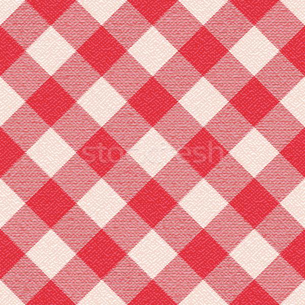 Red and white textured diagonal gingham pattern background 3 Stock photo © sanjanovakovic