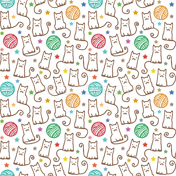 Hand drawn vector seamless pattern with cats and wool claws 1 Stock photo © sanjanovakovic