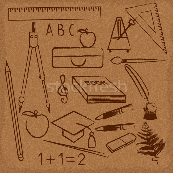 Hand Drawn School Related Symbols On Old Paper Vector Illustration