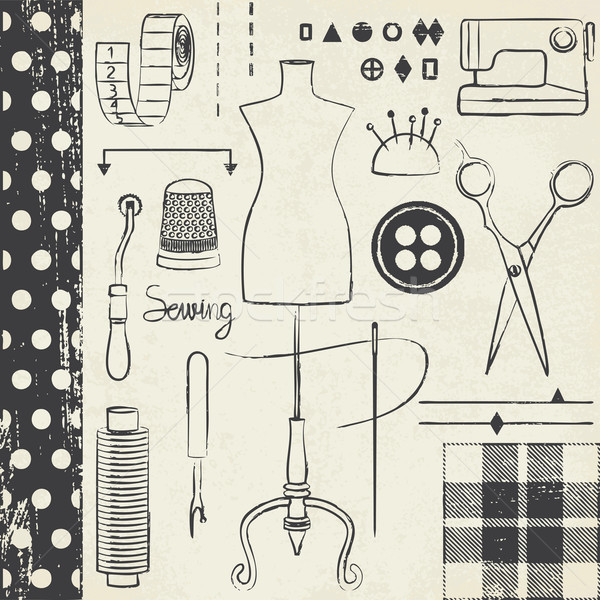 Vintage hand drawn sewing related symbols on paper background 1 Stock photo © sanjanovakovic