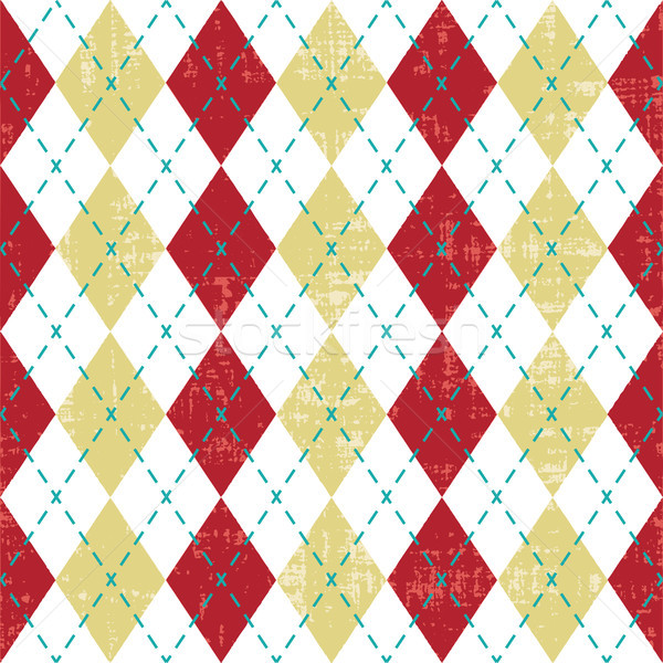 Red and yellow scratched argyle pattern inspired vector background
