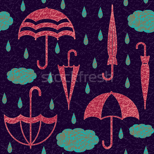Textured umbrellas with clouds and raindrops vector seamless pattern background 1