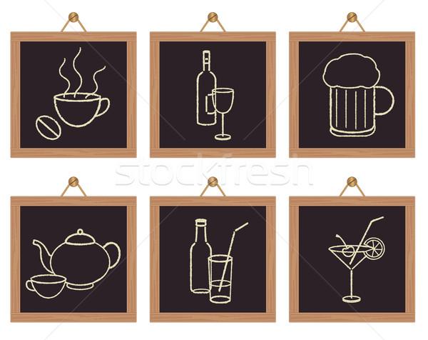 Restaurant beverages signs on black framed background   Stock photo © sanjanovakovic