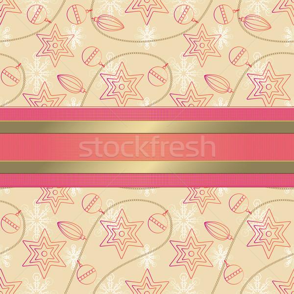 Stock fotó: Végtelen · minta · karácsony · díszek · dekoratív · szalag · terv
