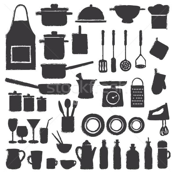 Hand drawn kitchen silhouette icons Stock photo © sanjanovakovic
