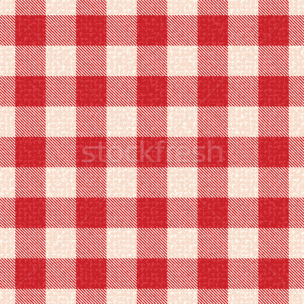 Red and white textured plaid gingham vector pattern background 5 Stock photo © sanjanovakovic