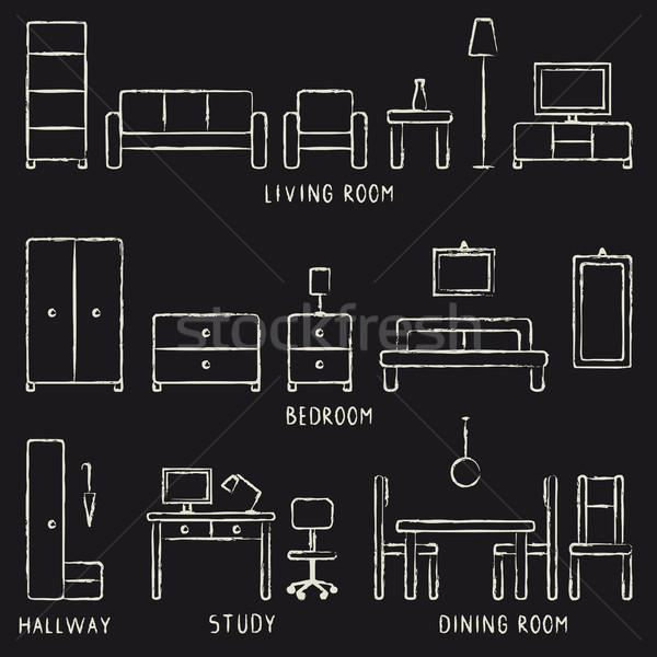 Vector hand drawn home furniture outline icons on blackboard 1 Stock photo © sanjanovakovic