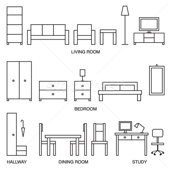 Vector casa muebles iconos signo Foto stock © sanjanovakovic