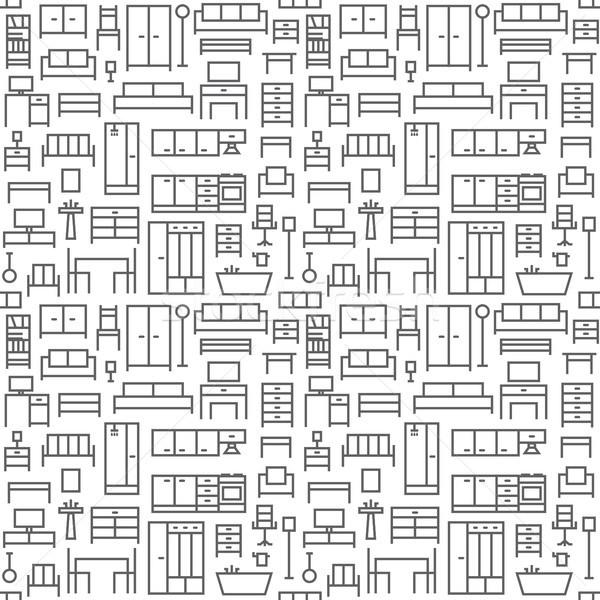Furniture themed vector seamless outline pattern background 1 Stock photo © sanjanovakovic