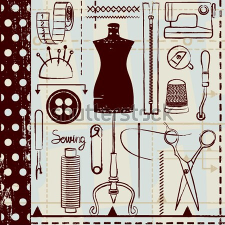 Scratched seamless pattern with sewing and tailoring related symbols Stock photo © sanjanovakovic