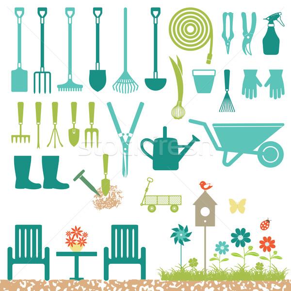 Jardim silhueta ícones jardinagem vetor Foto stock © sanjanovakovic