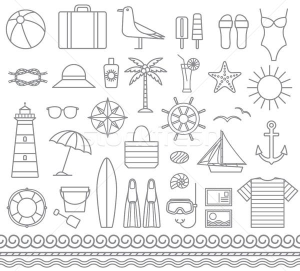 Sea and summer outline vector silhouette icons 1 Stock photo © sanjanovakovic