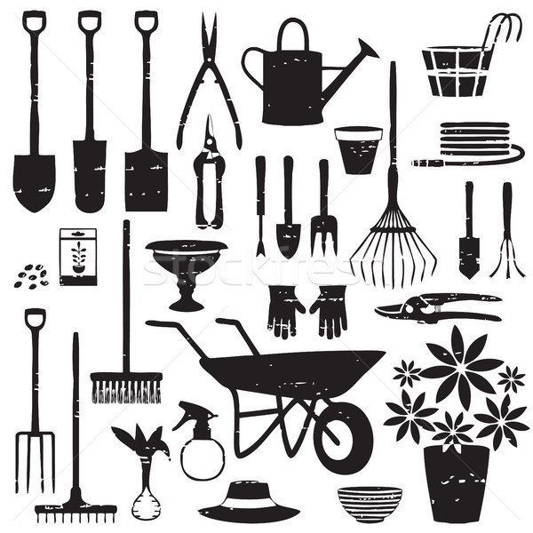 Scratched gardening related silhouettes Stock photo © sanjanovakovic