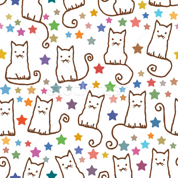 Stock photo: Hand drawn vector seamless pattern with cats and stars