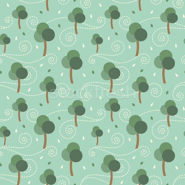 Trees and the storm retro vector seamless pattern background Stock photo © sanjanovakovic