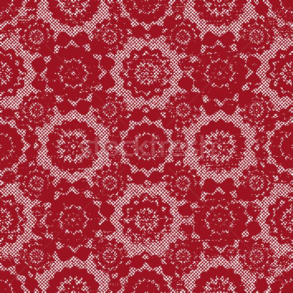 Bağbozumu kırmızı dantel vektör model renk Stok fotoğraf © sanjanovakovic