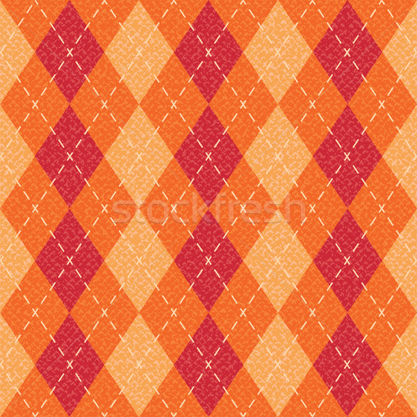 Orange textured argyle pattern inspired vector background
