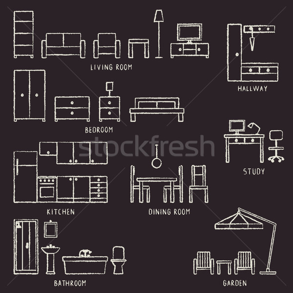 Stock photo: Vector hand drawn home furniture outline icons on blackboard 2