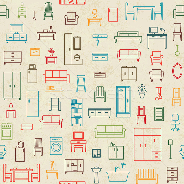 Vintage vector seamless pattern background with home furniture outline icons 1 Stock photo © sanjanovakovic