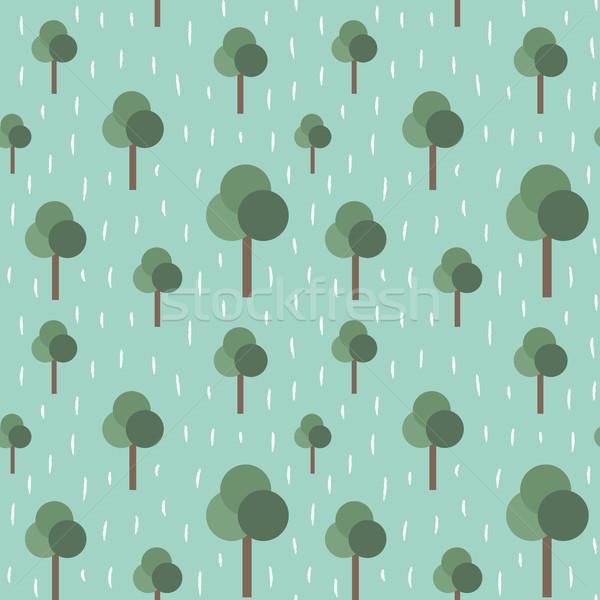 Ağaçlar yağmur Retro vektör doğa Stok fotoğraf © sanjanovakovic