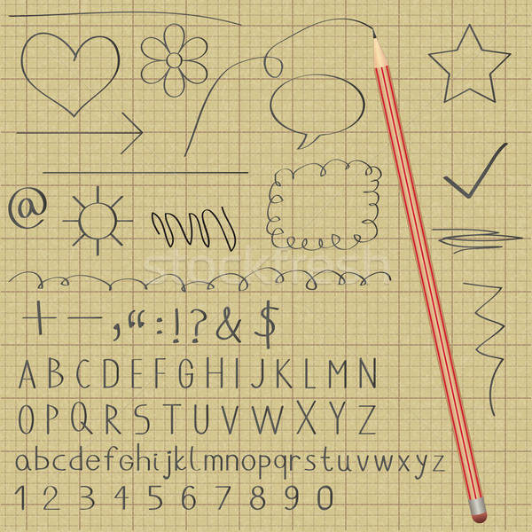 Alphabet and various symbols with lead graphite pencil on graph paper   Stock photo © sanjanovakovic
