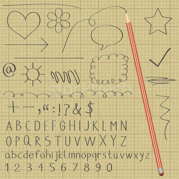 Alfabeto símbolos grafito lápiz gráfico Foto stock © sanjanovakovic