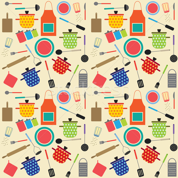 Stock photo: Colorful seamless pattern with cooking related symbols