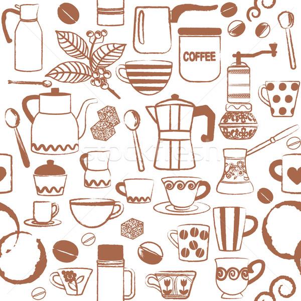 Seamless pattern with hand drawn coffee related symbols Stock photo © sanjanovakovic
