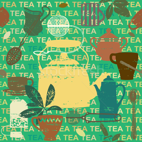 Seamless pattern with scratched tea related symbols and letters 3    Stock photo © sanjanovakovic