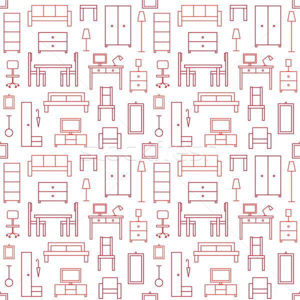 Vektör ev mobilya simgeler Stok fotoğraf © sanjanovakovic
