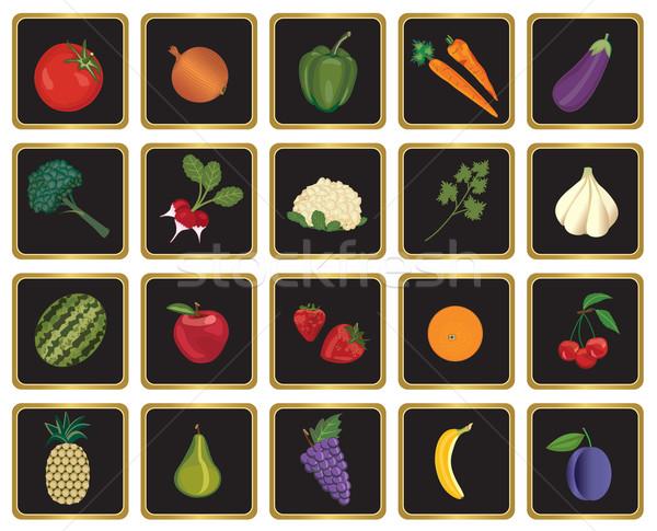 Stok fotoğraf: Meyve · sebze · semboller · simgeler · elma · restoran